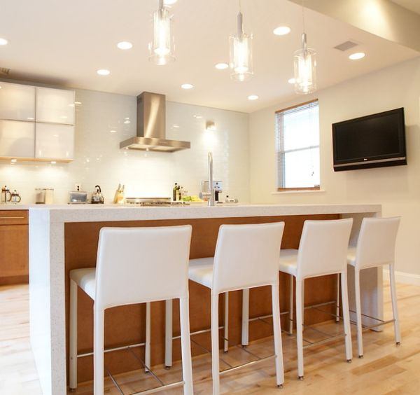 Schöne Coole Pendelleuchten In Der Küche Kücheninsel Barstühle
