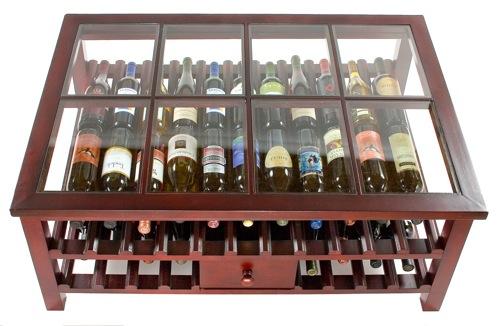 schicke Weinregale und Ständer aus Holz kaffeetisch