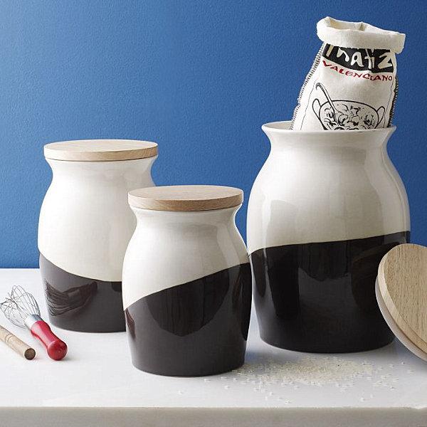 schicke behälter für lebensmittel getunkt schwarz weiß holz deckel