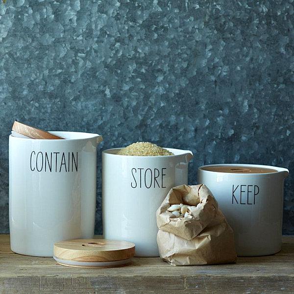 schicke behälter für lebensmittel keramisch beschiftet