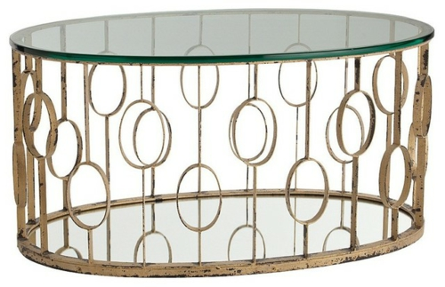 schicke deko ideen fürs wohnzimmer metallisch formen tischplatte