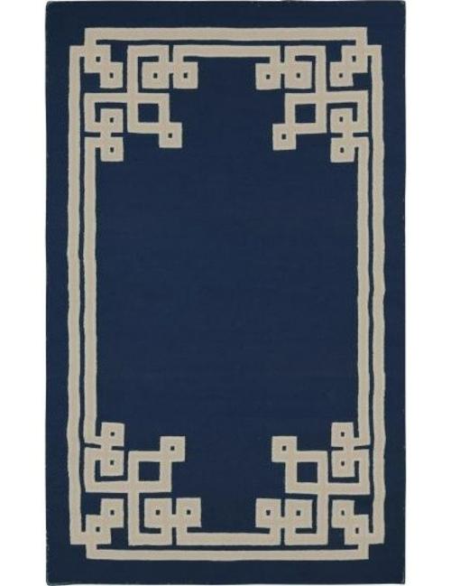 schicke deko ideen fürs wohnzimmer teppich blau weiß muster
