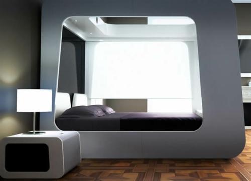 schlafzimmer design nachttisch tischlampe matratze dunkle bettwäsche