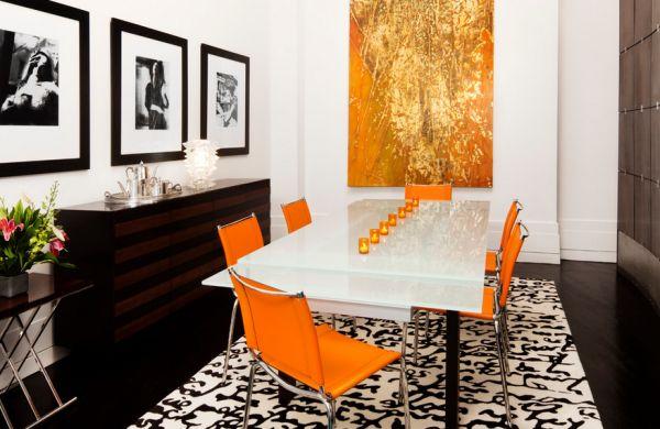 schwarz weiß bilder interior design mit schwung orange