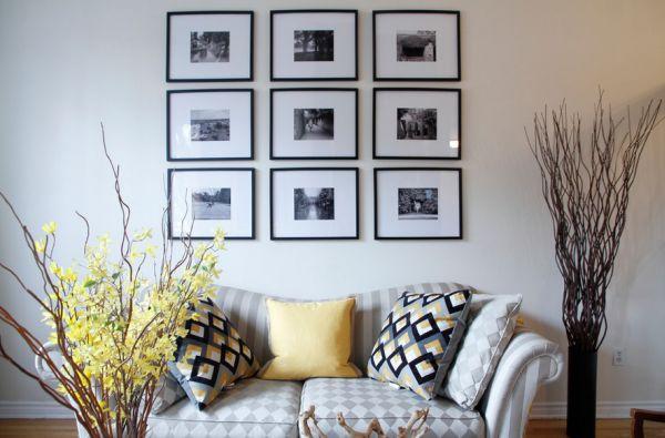 schwarz weiß bilder interior naturfarben und zitronengelbe akzente