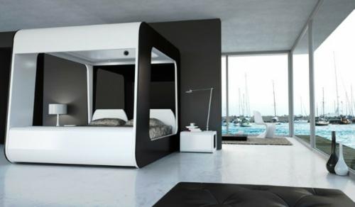 schwarz weiß interieur design himmelbett leder möbel