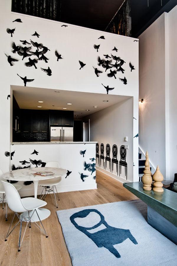 schwarze küchenmöbel und ausgefallene details hitchcock stimmung