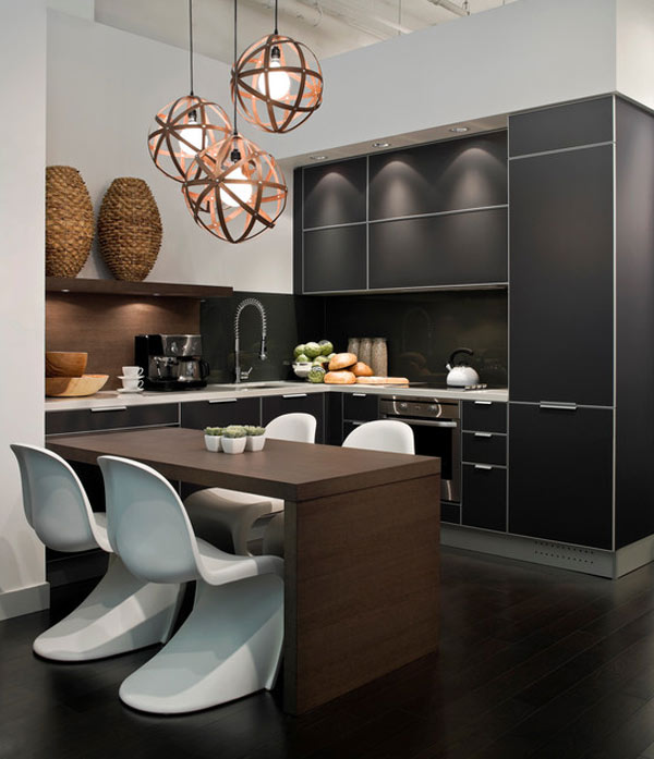 schwarze  küchenmöbel und ausgefallene details schränke schwarz ovale weiße stühle