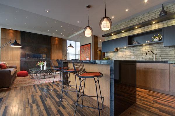 schwarze küchenmöbel und ausgefallene details sehr elegant