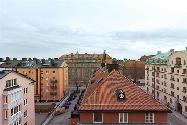 schwedisches loft apartment elegant badezimmer dach draußen
