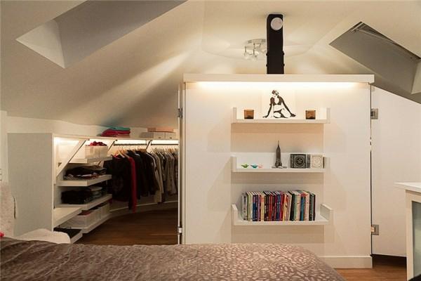 schwedisches loft apartment elegant braun kleider schienen