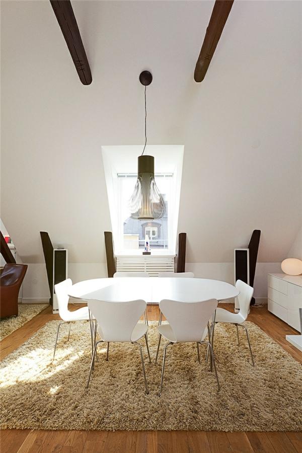 loftwohnung in schweden elegant esszimmer glanzvoll teppich