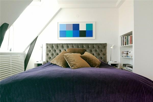 loftwohnung in schweden elegant samt texturen schlafzimmer