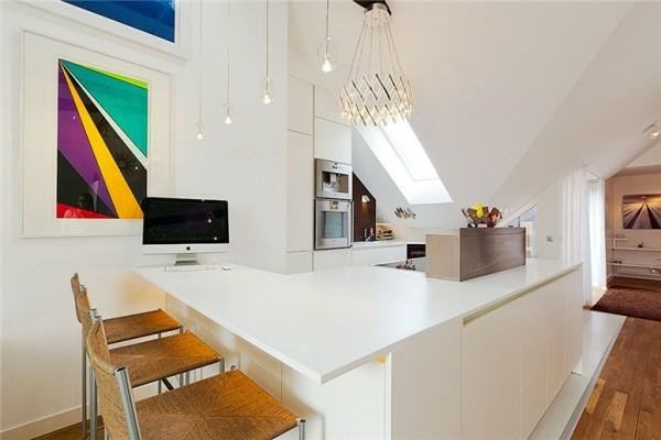 loftwohnung in schweden elegant weiß arbeitsplate küche