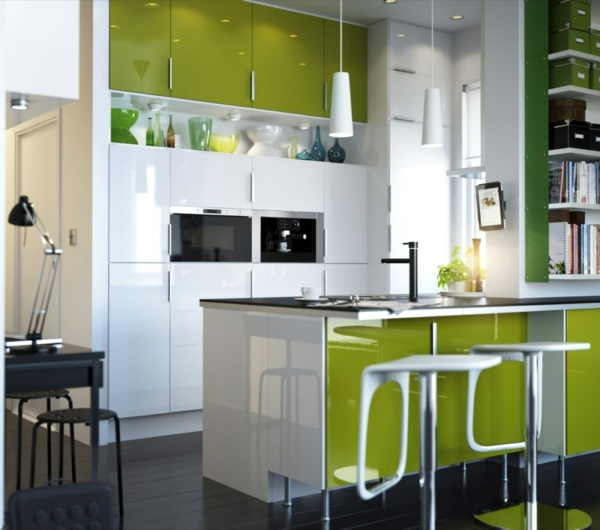 spülen für die küche einrichtung grün farben akzent weiß