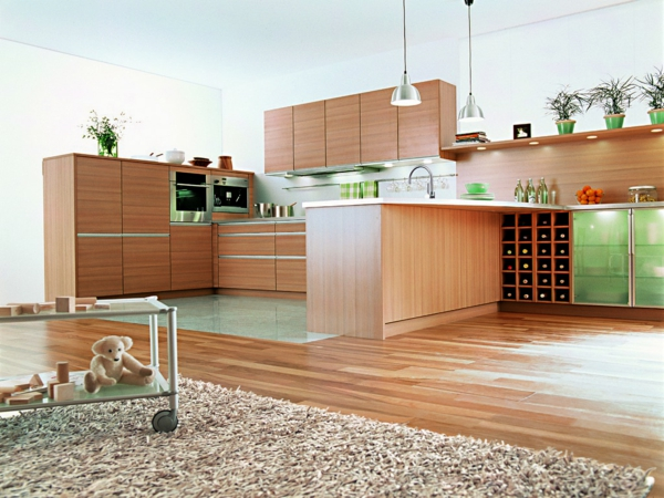 hölzerne einrichtung in der küche spülbecken pendelleuchten