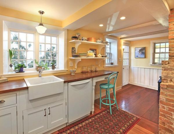 spülen für die küche weiß einrichtung holz arbeitsplatte gelb wand