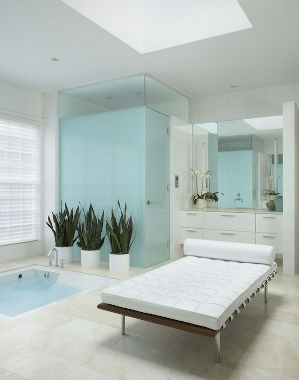 spa ausstattung im badezimmer waschbecken liege eingebaut pool