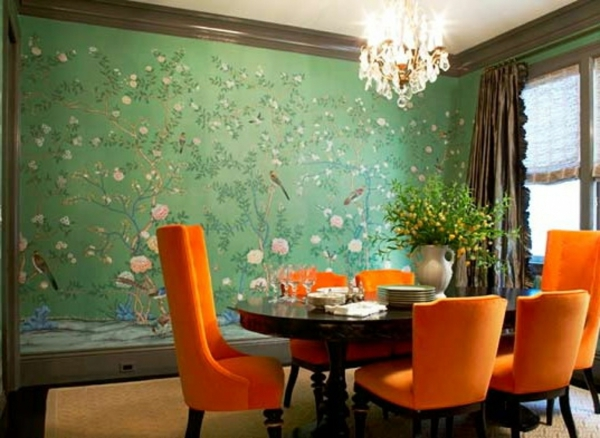 kuchenschranke innen streichen : stimmungsvolle farben im haus - grasgr?ne Wand - im chinesischen Stil ...