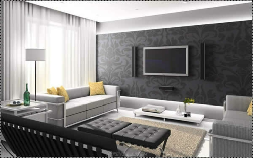Tapeten F?r Dunkle M?bel : Das Wohnzimmer attraktiv einrichten ? 70 Designs, die Sie unbedingt