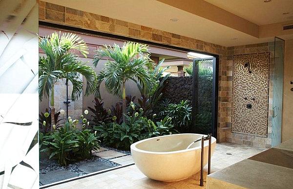 tropische badezimmer üppige vegetation