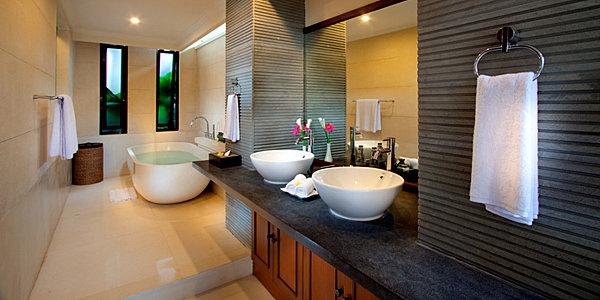 tropische badezimmer elegante waschbecken aus weißer keramik
