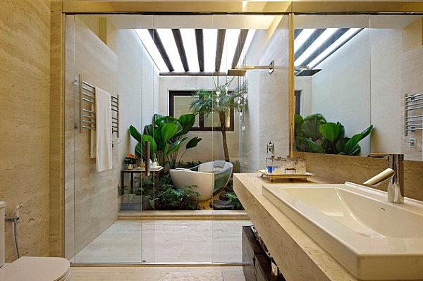 tropische badezimmer sehr modern große gläserne zwischentür