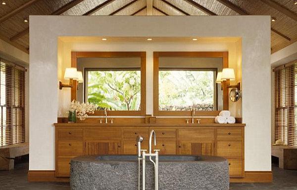 tropische badezimmer stilvolle kommoden aus nussbaumholz