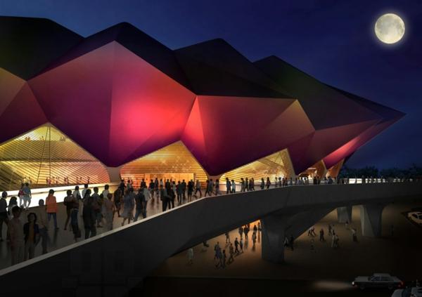 ultra moderne und innovative architektur festliche stimmung von aussen