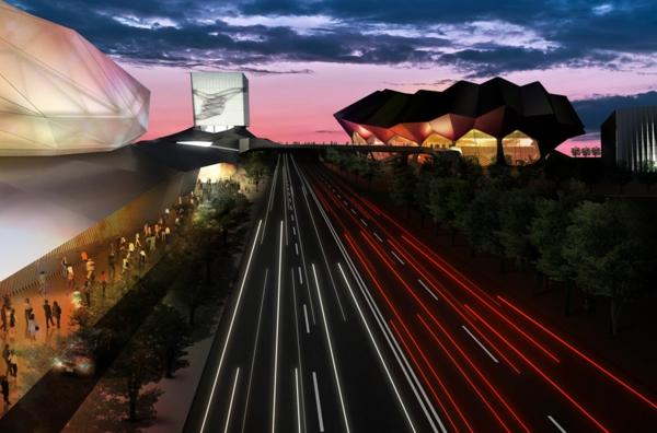 ultra moderne und innovative architektur straßenaussicht