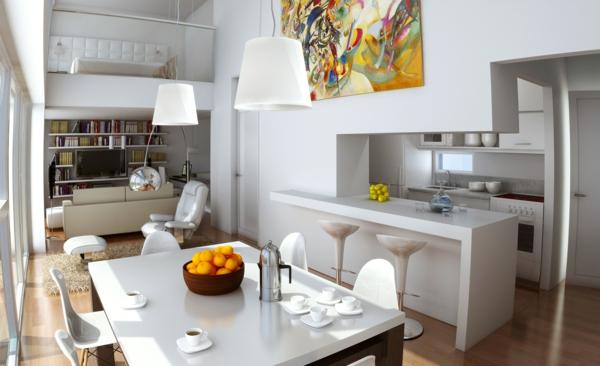 urbanen dachboden einrichtungsstil essbereich küche weiß möbel