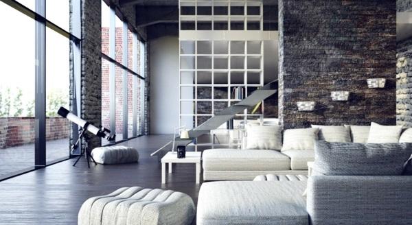 städtischen dachboden einrichtung stil modern wohnbereich große sofas