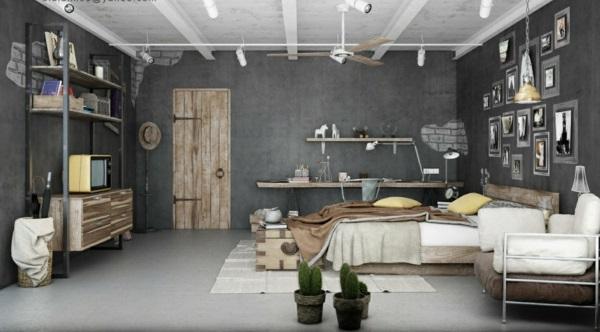 urbanen dachboden einrichtungsstil rustikale möbel holz schlafzimmer büro