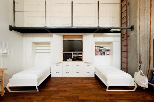 dachboden einrichtungsstil weiß ausziehbar einzelbetten
