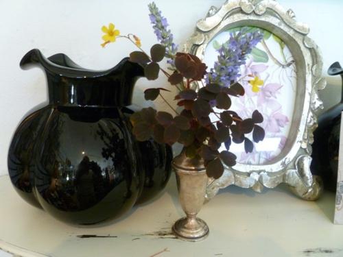vintage silber dekoration zu hause eklektisch stil glanzvoll schwarz blumen