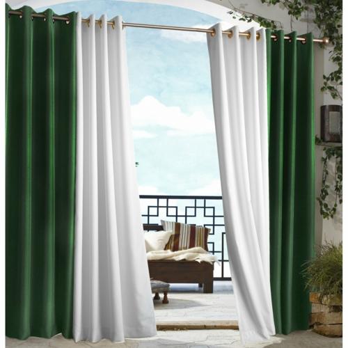 vorhänge gardinen außenbereich garten terrasse grün weiß