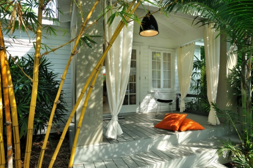 vorhänge und gardinen für den außenbereich bambus