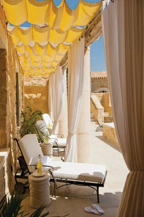 vorhänge und gardinen für den außenbereich gelb luftig beige