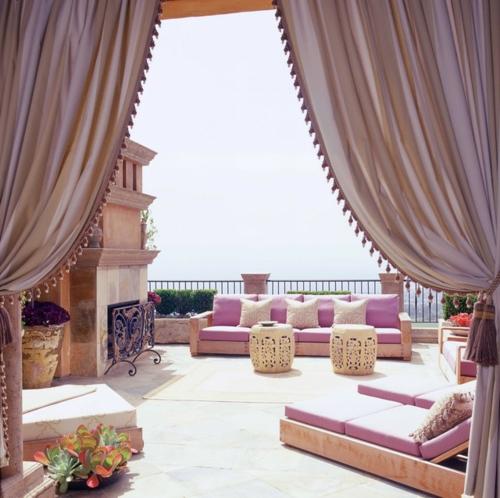 vorhänge und gardinen für den außenbereich sitzecke terrasse
