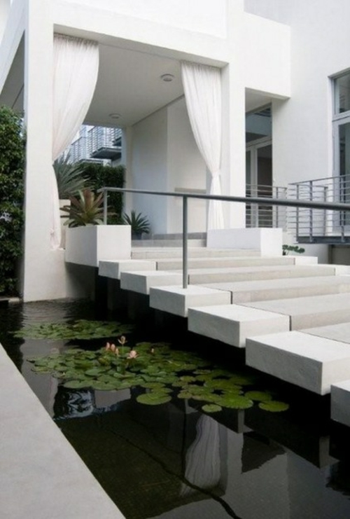 vorhänge und gardinen für den außenbereich treppe weiß stufen
