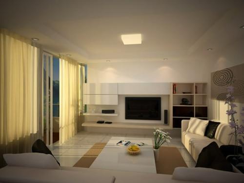 warm behaglich wohnzimmer gardinen sofa tisch kissen