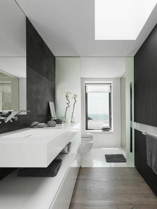 waschbecken schwarz wand weiß glanzvoll oberflächen matte wc