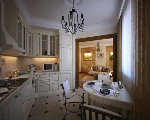 weiß-eingebaut-einrichtung-küche-kronleuchter-metall