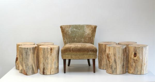 Recycelten Stumpf im Interior Design und Dekoration sessel hocker idee natur