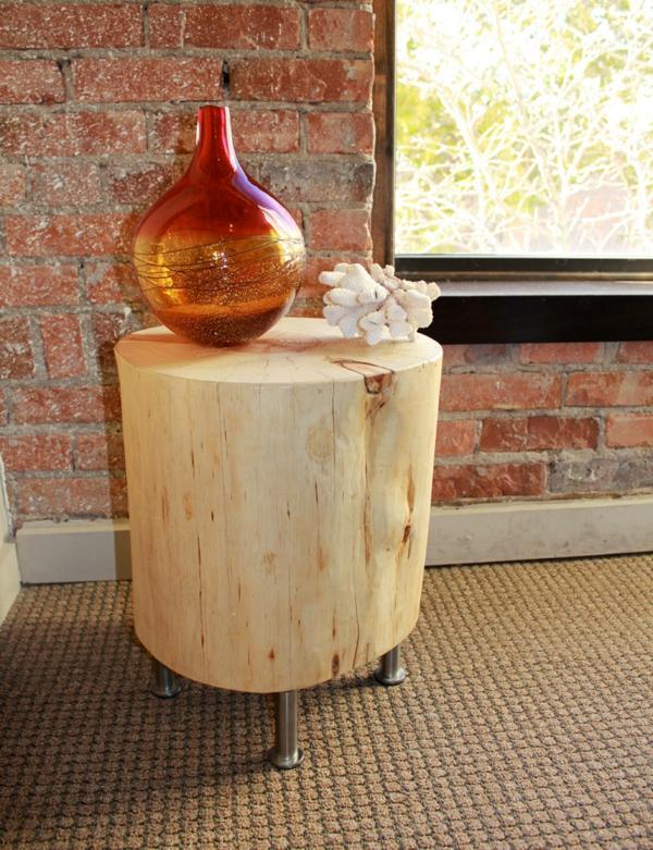 Recycelten Stumpf im Interior Design und Dekoration tisch hell holz natur vase