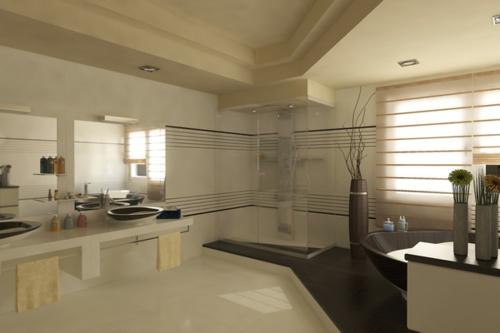 wohnlich gemütlich badezimmer design idee waschbecken schwarz bodenvase