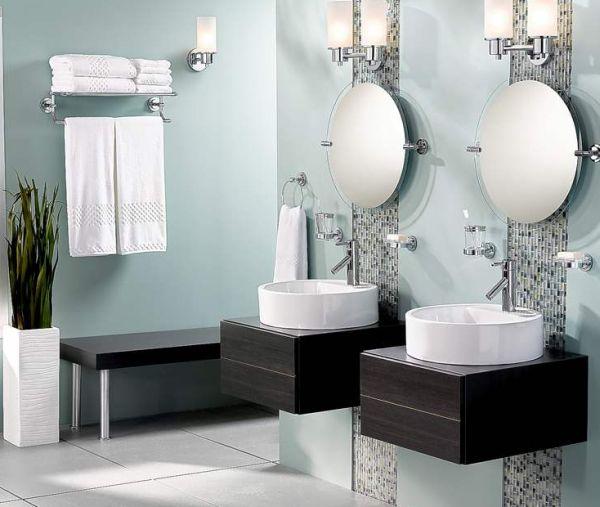 bodenvasen designs im badezimmer runde waschbecken wandspiegel
