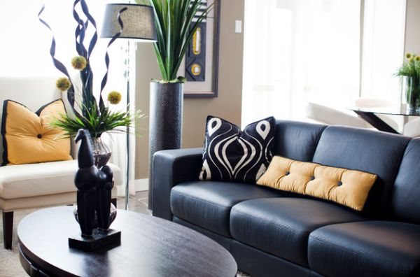 wunderschöne bodenvasen designs leder schwarz sofa schick