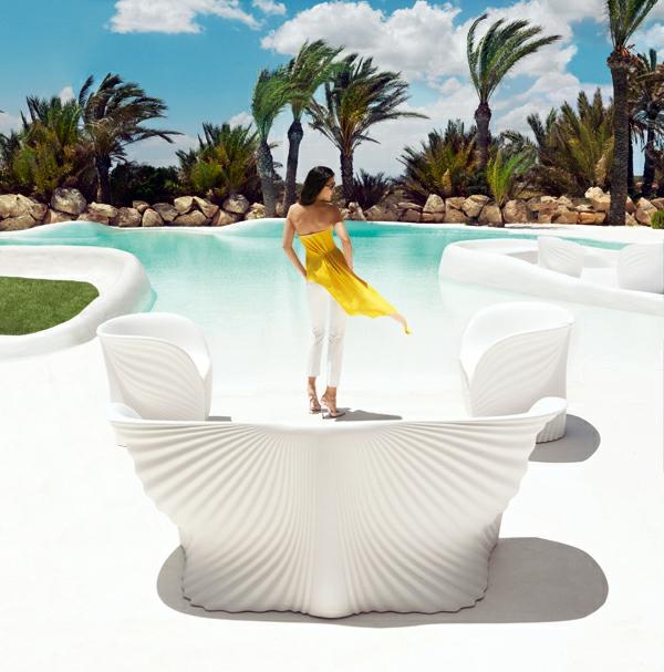 ästhetische möbel sammlung außenbereich pool weiß sofa