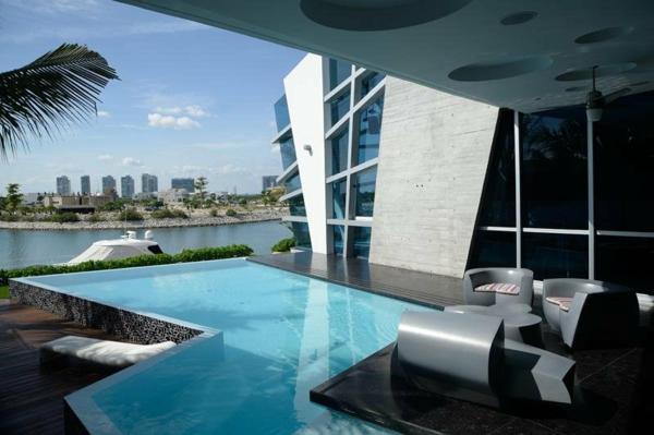 Avantgardistisches Haus design außenbereich pool dach terrasse